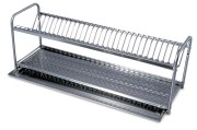 Stainless steel plate and dishes rack for 18 dishes.