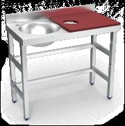 Mesa de preparação e lavagem inox 1000 mm vermelha