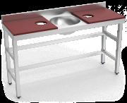 Mesa de preparação e lavagem inox 1500 mm vermelha 2 orifícios