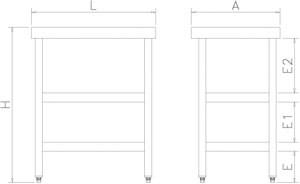 Table inox 2 étagères spéciale trancheuses.