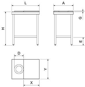 Table de préparation de poisson modèle simple