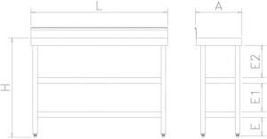 Table murale inox spéciale avec 2 étagères