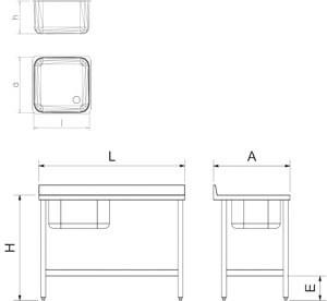 Table adossée inox de chef, bac à gauche