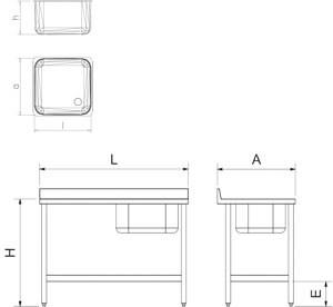 Table adossée inox de chef, bac à droite