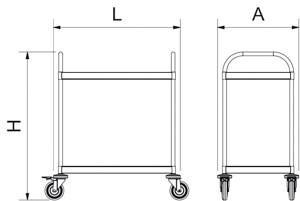 Chariot de service inox avec deux étagères charges lourdes