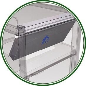 Spezielle Abfallcontainer mit  Tablettablage