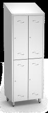 Spind, Umkleideschrank mit zwei Abteilen und 4 Türen, aus Edelstahl (inkl. 8 Kle