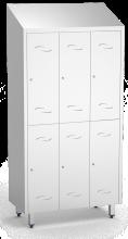 Spind, Umkleideschrank mit zwei Abteilen und 6 Türen, aus Edelstahl (inkl. 12 Kl