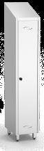 Putzschrank mit einer Tür aus Edelstahl