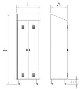 Putzschrank mit 2 Türen aus Edelstahl