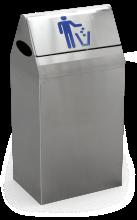 Papierkorb aus Edelstahl mit Klappdeckel, 44 Liter